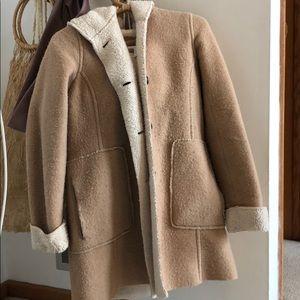 BCBG tan cream hooded coat